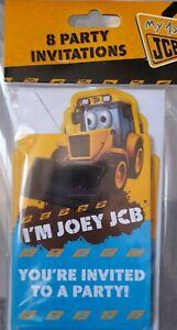 JCB Party Invitations 8 birthday invites kids party Joey Jcb bnwt & Envelopes