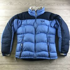 *Mountain Hardwear Blue Black Down Puffy Puffer Coat Jacket Womens Size Small