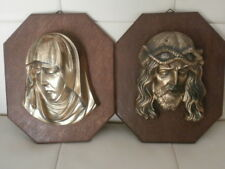 2 Wandbilder Jesus Maria Relief Messing schwer Eiche Holz Bilder Bild Holzplatte