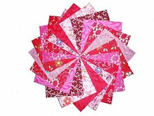 50 4 inch Quilting Fabric Squares Pretty Pinks and Reds/Beautiful!-4""