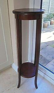 Tall dark wood inlaid 2 tier plant stand wine table, under shelf, lamp display