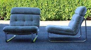 2x Designer Sessel MODULAR Vintage Mid Century 60er Edelstahl, Set 1