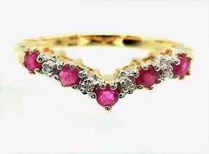 9CT GOLD RUBY RING DIAMOND WISHBONE ETERNITY SIZE M 9 CARAT YELLOW GOLD