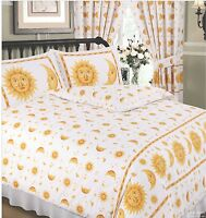 SINGLE BED DUVET COVER SET SUN AND MOON WHITE YELLOW GOLD STARS BORDER 68 PICK