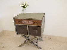 3 Drawer Cabinet On Stand Industrial Vintage Text Plate Storage Lamp End Table