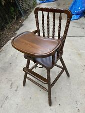 Lovely Dark Finish Vintage Jenny Lind Wooden Baby Feeding High Chair & Tray
