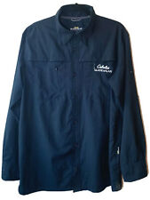 CABELA'S Guidewear Navy Fishing Shirt Vented Lightweight SPF 50 Zip Pockets L