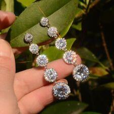Luxury Round Cut White Sapphire Earrings 925 Silver Women Wedding Jewelry Gifts