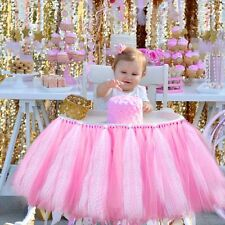 "39x13.5""Baby Birthday High Chair Skirt Tulle Tutu Glitter Baby Shower Tablecloth"