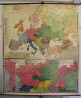 Schulwandkarte Sprachen Völkerkarte Europas ~1922 184x217cm vintage wall map