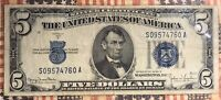 1934-D US 5 Five Dollar Bill Silver Certificate Blue Seal Collector Note
