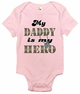 Baby Bodysuit - My Daddy is My Hero Baby Clothes for Military Family Infants