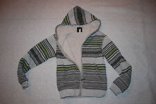 Boys WARM JACKET Sherpa Lined HEATHER GRAY Striped LIME GREEN Zip Front SIZE M