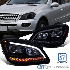 For 06-08 Benz W164 ML350 ML500 Glossy Black LED Sequential Projector Headlights