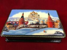 """Vintage Russian Lacquer Box Mother of Pearl 6.25"""" Hinged Lid Moscow Trinket Box"""