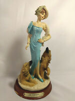 Vintage La Verona Figurine Lady In A Blue Dress With Two Dogs Afgan Hounds