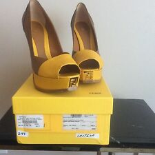 Authentic Fendi Fendista Yellow & Brown Platform Pumps Buy$830 Sell$400