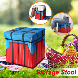 Folding Storage Ottoman Box Home Chair Footstool Kids Toy Container W/ Li
