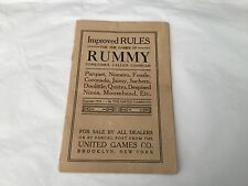 ORIGINAL 1916 UNITED GAMES COMPANY  IMPROVED RULES FOR THE GAMES OF RUMMY