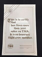 TWA Airlines Certificate Flown More Than 2000 Miles Child's Menu on Back Blank