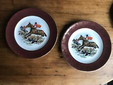 PAIR Weatherby Hanley England Royal Falcon Ware 2-69, Fox Hunting Scene, Gold