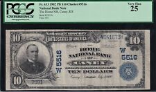 1902 PB $10 national bank note CANEY - KANSAS. One of the finest known!