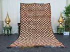 Moroccan Handmade Vintage Rug 5'x8' Berber Geometric Beige Black Wool Rug