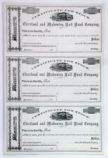 CIVIL WAR Era Uncut Sheet 186x Cleveland & Mahoning Railroad,OH Certificates VF