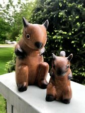 Cute Mommy and Baby Squirrels, Hand Carved Wooden Squirrels, NEW