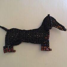 Dorothy Bauer Black & Gold Swarovski Crystal Dachshund Brooch Pin