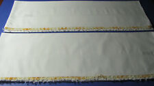 Pair Vintage White Cotton Variegated Yellow & Gold Tatted Lace Pillowcases M62
