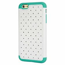 iPhone 6 Plus Case Studded Rhinestone Crystal Bling Hybrid Armor Case Cover (Whi