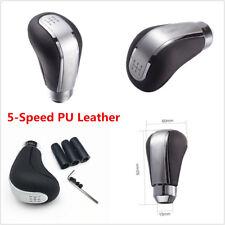 5-Speed Gear Shift Knob Head Shifter Black & Silver For Manual Car PU Leather