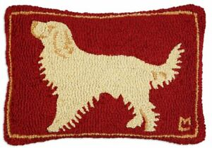 """Chandler 4 Corners Golden Guy Retriever on Red 14""""x20"""" Hooked Pillow"""