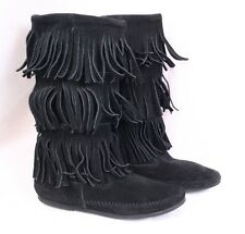 MINNETONKA MOCCASIN 1639 3 Layer Fringe Black Suede Leather Pull On Boot Women 7