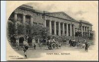 BOMBAY Mumbai Indien India Vintage Postcard ~1900 Town Hall Rickshaw Fuhrwerke