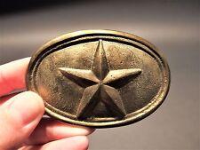 Antique Style Civil War Belt Buckle Plate Texas Star SOLID Brass