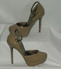 "Steve Madden Women's Heels Sz 9.5 Taupe Patent Leather Platforms 5.5"" Heels"