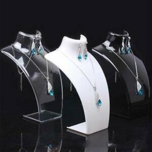 2Pcs Acrylic Necklace Stand Jewellery Earrings Retail Shop Display Busts Holder