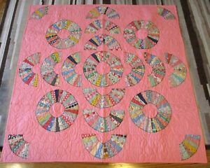 """New USA Hand Made Throw Size Quilt -Feedsack Print Patchwork 60"""" x 60"""" - Pink"""