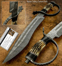 IMPACT CUTLERY RARE CUSTOM DAMASCUS LARGE  BOWIE KNIFE | STAG ANTLER HANDLE