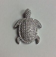 REAL STERLING SILVER Sea Turtle Symbol Cubic Zirconia PENDANT 3.3g