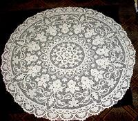 """Spectacular Antique Point de Venise Venice 70"""" Round White Tablecloth MINT"""