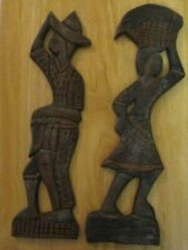 Island Style Wood Carved Man & Woman Native Hanging Plaques