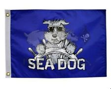 "Nautical Sea Dog 12"" x 18"" Two Sided Flag 200Denier Outdoor Indoor Home Boat"