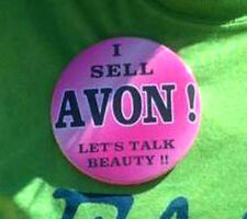"*I SELL AVON !  LET'S TALK BEAUTY !! *  PIN-BACK  *BUTTON*   LARGE 3.5"" DIAMETER"