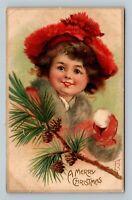 RARE Frances Brundage Christmas Beautiful Girl Snowball c1909 Tuck Postcard