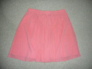 Womens Skirt-ANN TAYLOR LOFT-pink gauzy lined elastic waist w/gathering-M
