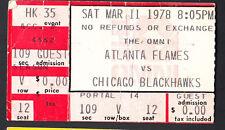Chicago Blackhawks at Atlanta Flames March 11 1978 Ticket Stub creased