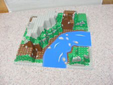 LEGO Green Raised Baseplate 32x32 Blue River 6024 From Set 6584